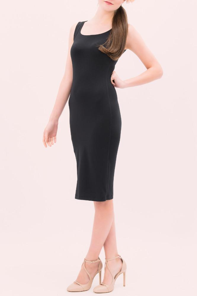 Midi length black sleeveless dress with scoop neck by Jessica Rose