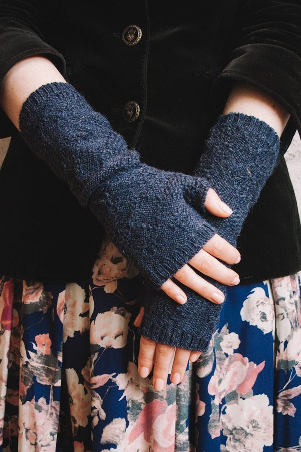 Neo Victorian style baby alpaca fingerless gloves lace knit in navy blue