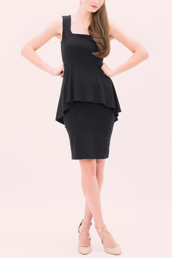 Parisian Chic layered black peplum dress sleevless knee length dress with square neck