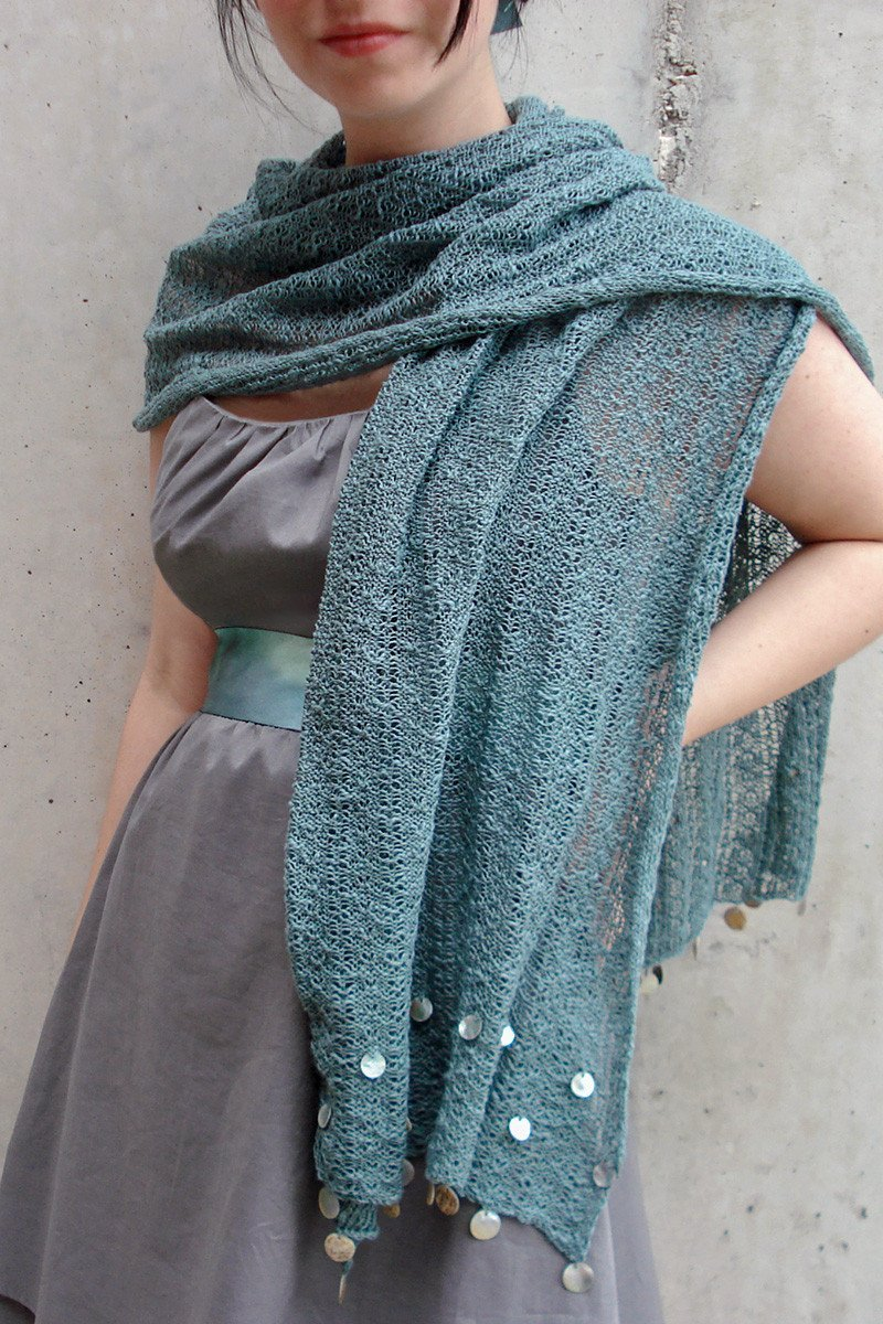 Shell Beaded Shawl-Scarves-ocean blue-Jessica Rose-Toronto Canada