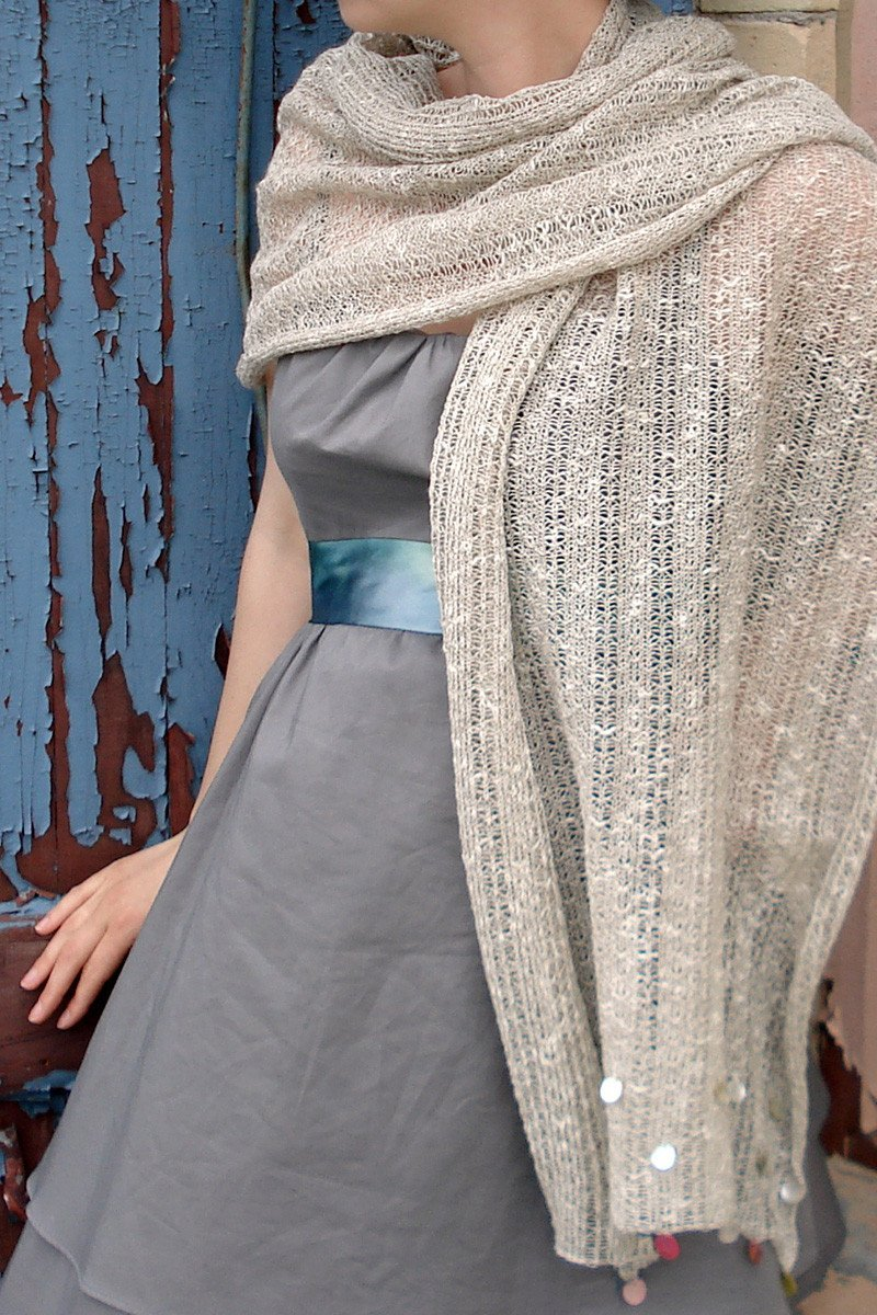 Shell Beaded Shawl-Scarves-natural-Jessica Rose-Toronto Canada