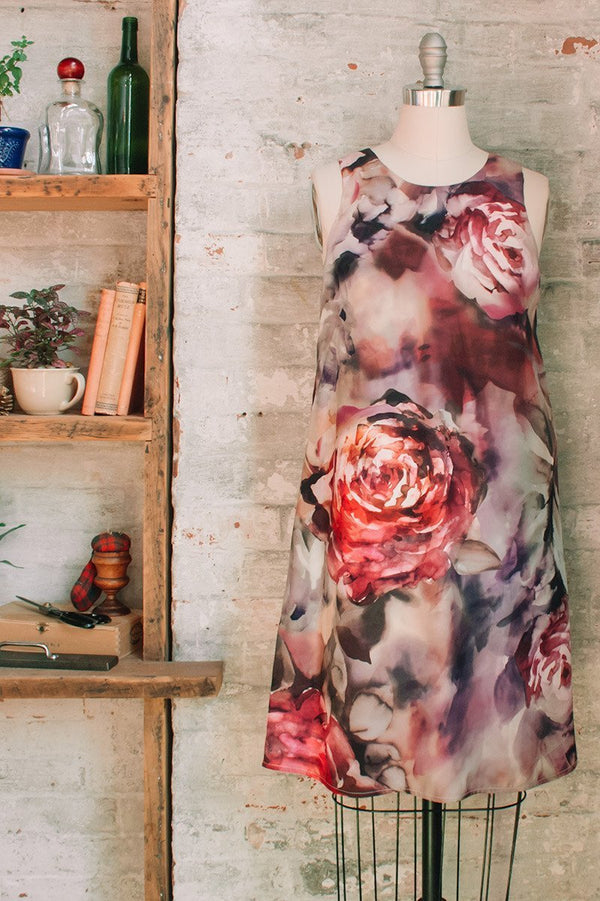 Silk floral a-line dress with pockets. French style dresses. Flowery silk dress.