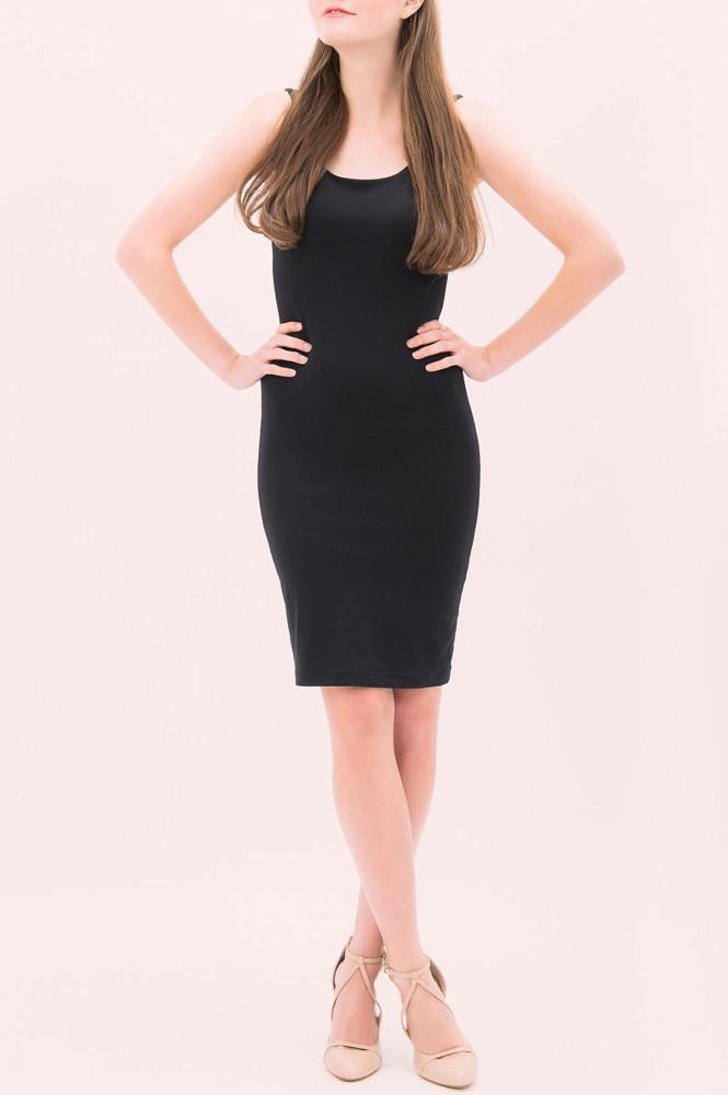 Bamboo dress. Sleeveless fitted knee length in black with scoop neck