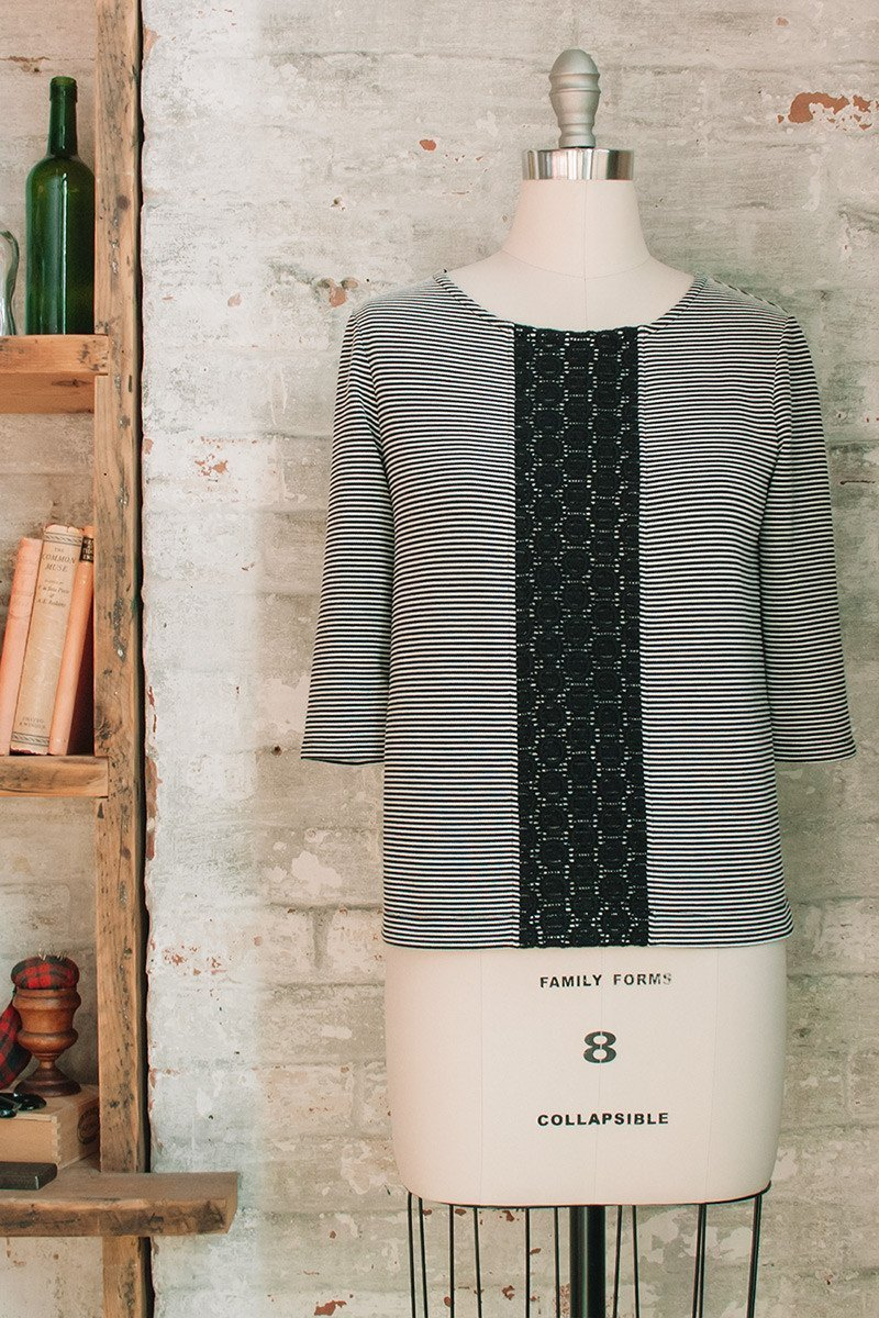 Striped black and white boxy top womens french style clothing