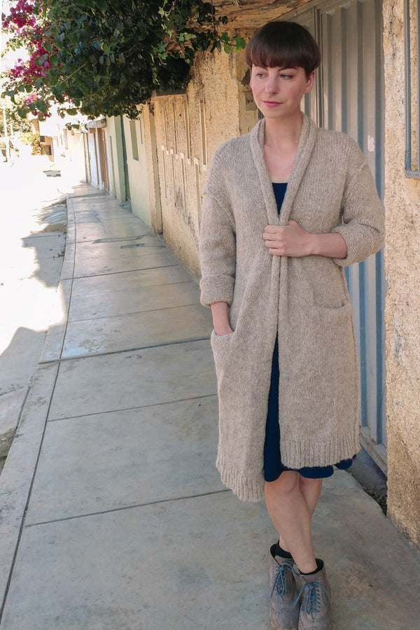 Alpaca lightweight camel tan long cardigan sweater with pockets - long vest for women