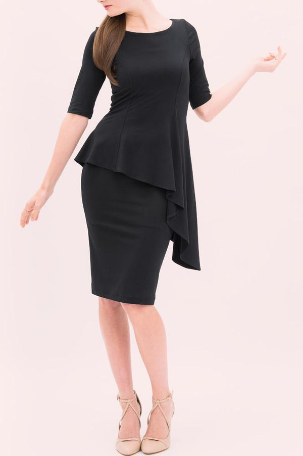 Black knee length asymmetrical peplum dress with sleeves - French style dresses