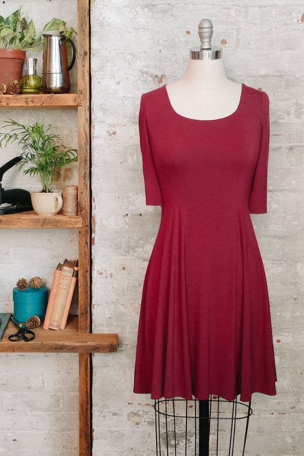 Women's Burgundy Fit and Flare Modal Dress with Scoop Neck and Short Sleeves - Made in Canada