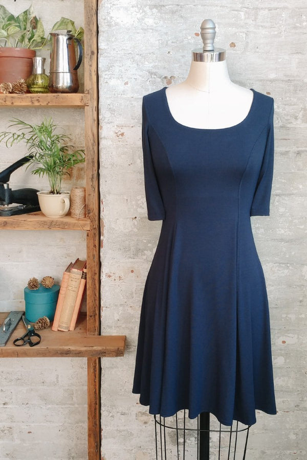 Women' s Fit and Flare Navy Blue Modal Dress with Scoop Neck and Short Sleeves