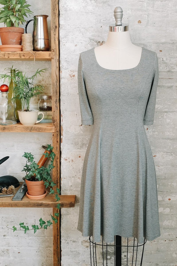 Women's knee length heathered grey fit and flare dress with sleeves and scoop neck
