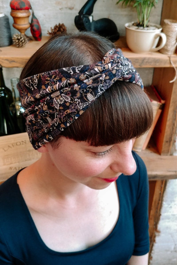 Women's turban headband in a black floral Liberty print - hair hairband