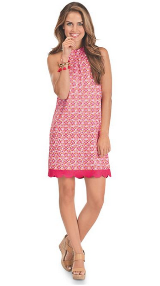 Natalie Bow Tie Sleeveless Dress Pink
