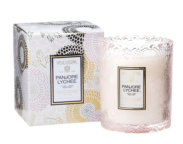 Panjoree Lychee Tinted Scalloped Edge Glass Candle