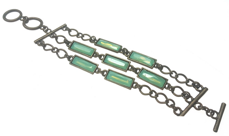 Rectangle Triple Pacific Opal Bracelet
