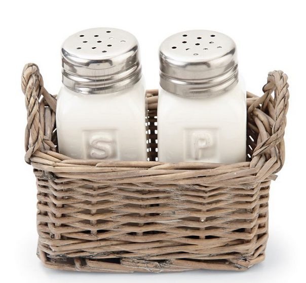 Salt and Pepper in Wicker Basket