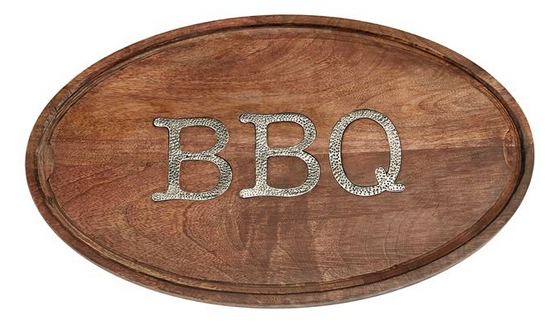 BBQ Oval Wood Serving Board