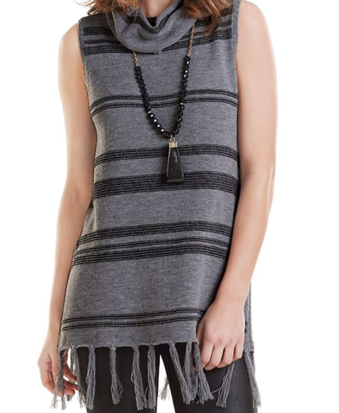 Hartley Sleeveless Turtleneck, Grey