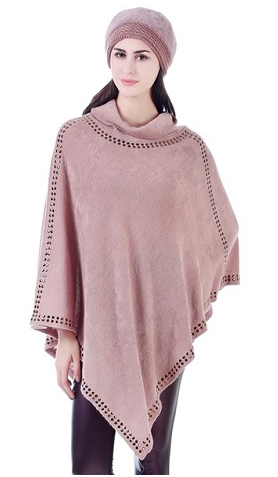 Suede Studded Cowlneck Poncho Blush