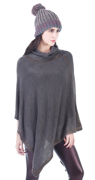 Suede Studded Cowlneck Poncho Gray
