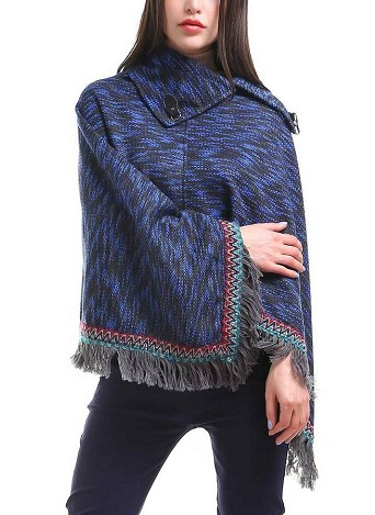 Blurred Stripe Poncho Blue