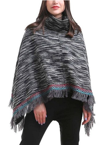 Blurred Stripe Poncho Black