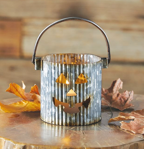 Corrugate Tin Galvanized Votive Holder