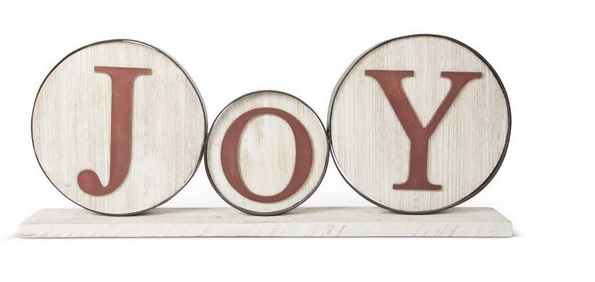 Red and White Round Joy Tabletop Sign