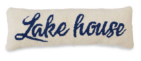 Lake House Hooked Pillow