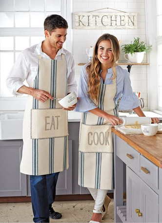 Blue Grainsack Aprons