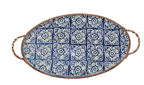 Bungalow Tile Wood & Enamel Tray