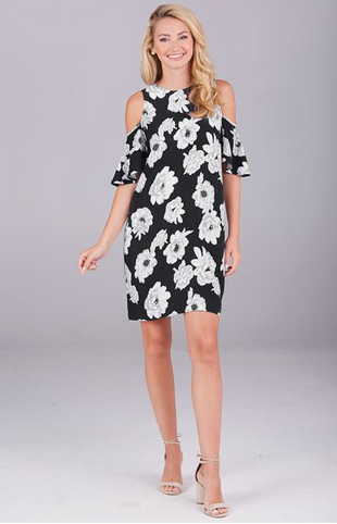 Cora Cold Shoulder Dress in Dark Floral from Mud Pie Fashion