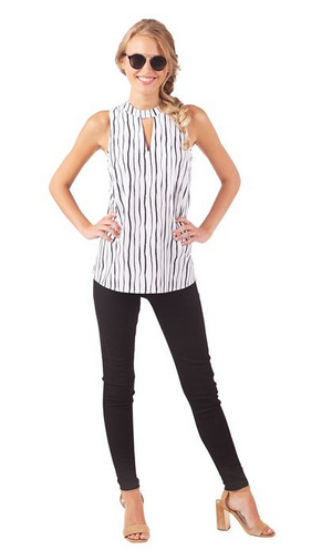 Beverly Swing Top in Painterly Black Stripe from Mudpie Fashion