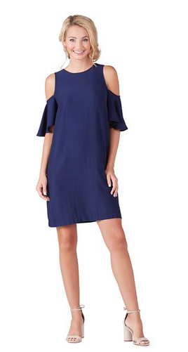 Cora Cold Shoulder Dress in Navy from Mud Pie Fashion