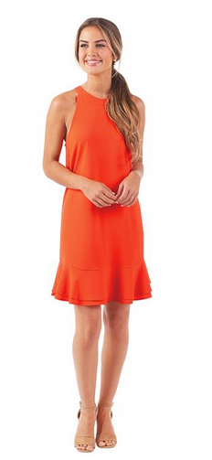 Lindsey Flounce Dress in Blood Orange