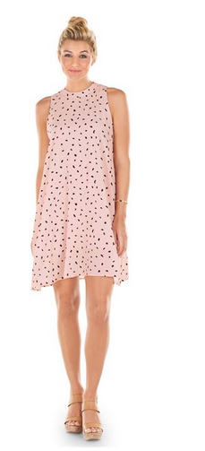Sawyer Swing Dress Blush/Black Dot