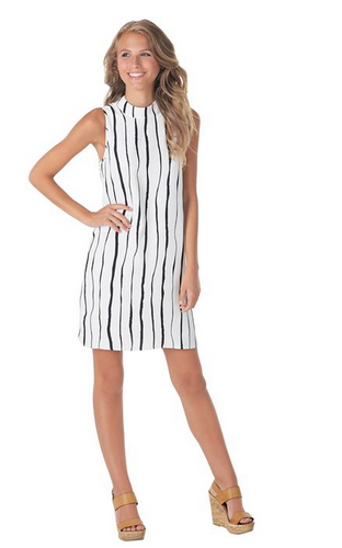 Jade Shift Dress in Painterly Black Stripe