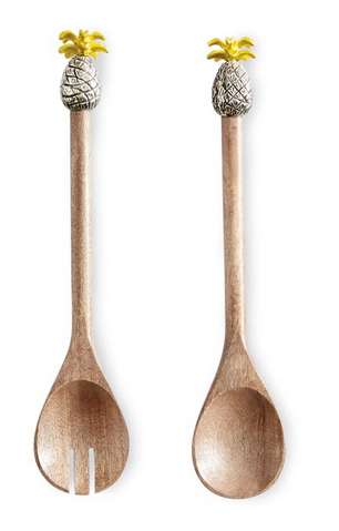 Pineapple Wood Salad Servers