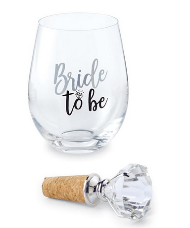 "Wedding Bling Wine Glass with ""Diamond"" Topper by Mud Pie"