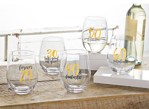 Forever 29 Stemless Wine Glass by Mud Pie