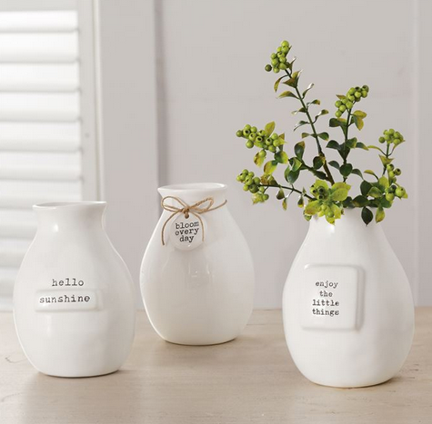 Ceramic Tag Bud Vases by Mud Pie