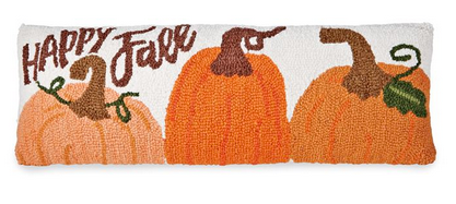 Happy Fall Hooked Wool Pillow by Mud Pie