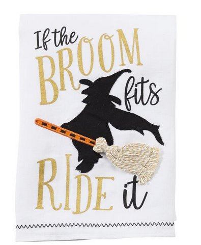 Broom Fits Halloween Towel by Mud Pie