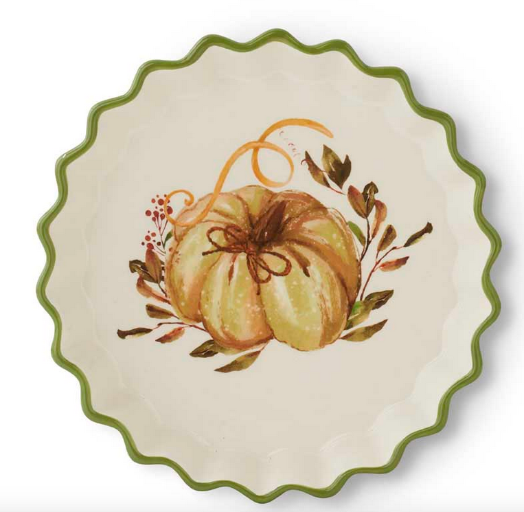 "8.5"" Ceramic Scalloped Rim Pie Plate with Pumpkin and Leaf Design"