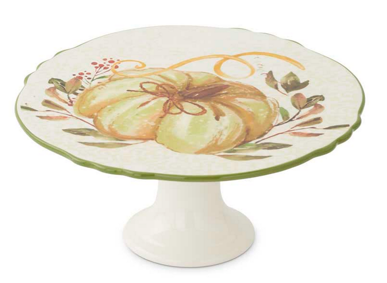 "11.25"" Ceramic Scalloped Rim Cake Stand with Pumpkin and Leaf Design"