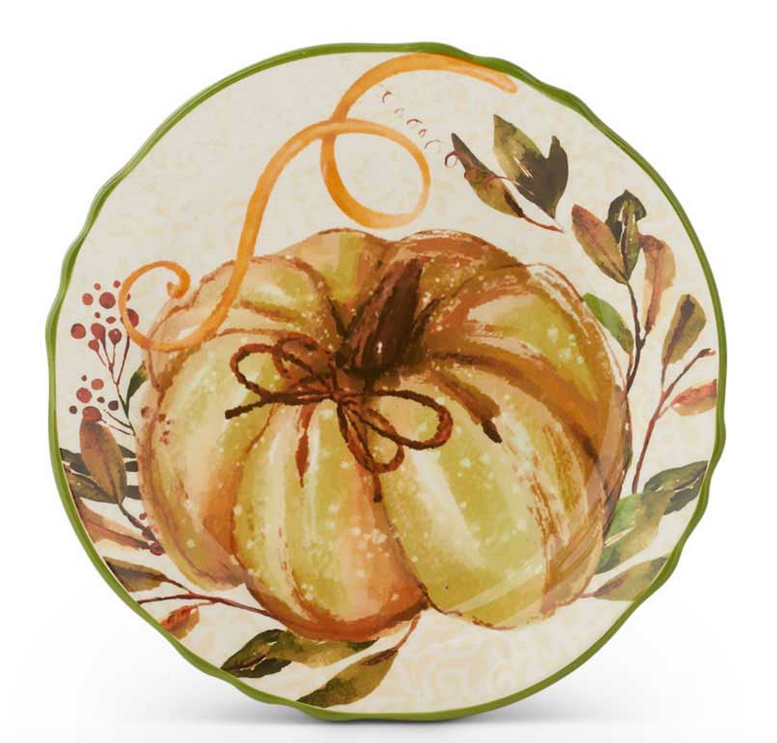 "8.5"" Ceramic Scalloped Rim Plate with Pumpkin and Leaf Design"