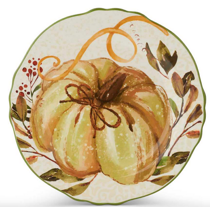 "11"" Ceramic Scalloped Rim Plate with Pumpkin and Leaf Design"