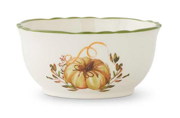 "5.75"" Ceramic Scalloped Rim Bowl with Pumpkin and Leaf Design"