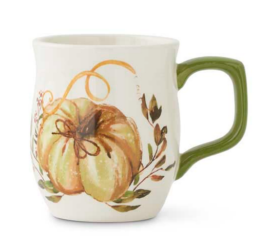"4"" Ceramic Mug with Pumpkin and Leaf Design"