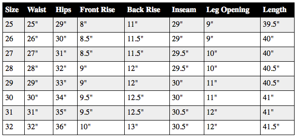 Size Chart Mya Black As Night Skinnies