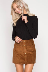 Brown Corduroy Button Mini Skirt