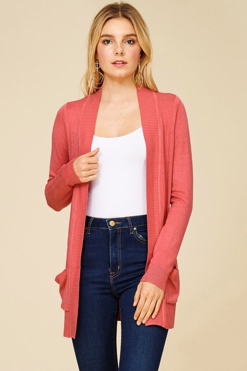 Coral Oversized Ribbed Cardigan